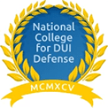 Award certificate from the National College for DUI Defense