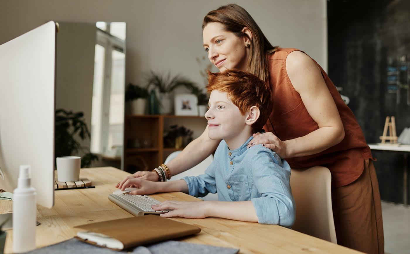 mom and son creating virtual card