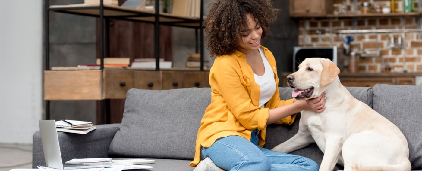Woman sitting on couch in apartment petting dog
