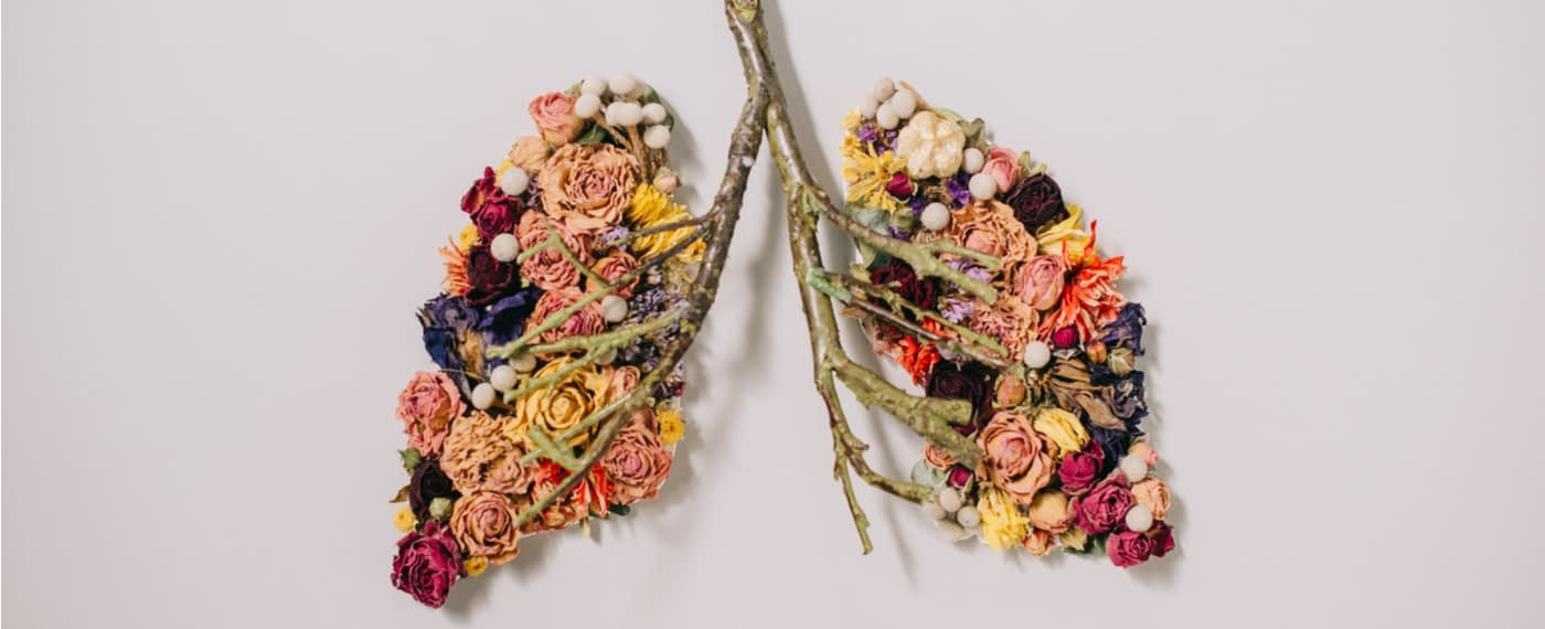 An assortment of flowers arranged in the shape of human lungs