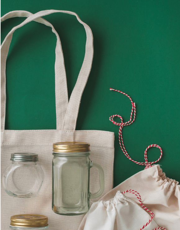 Reusable grocery bag and mason jars