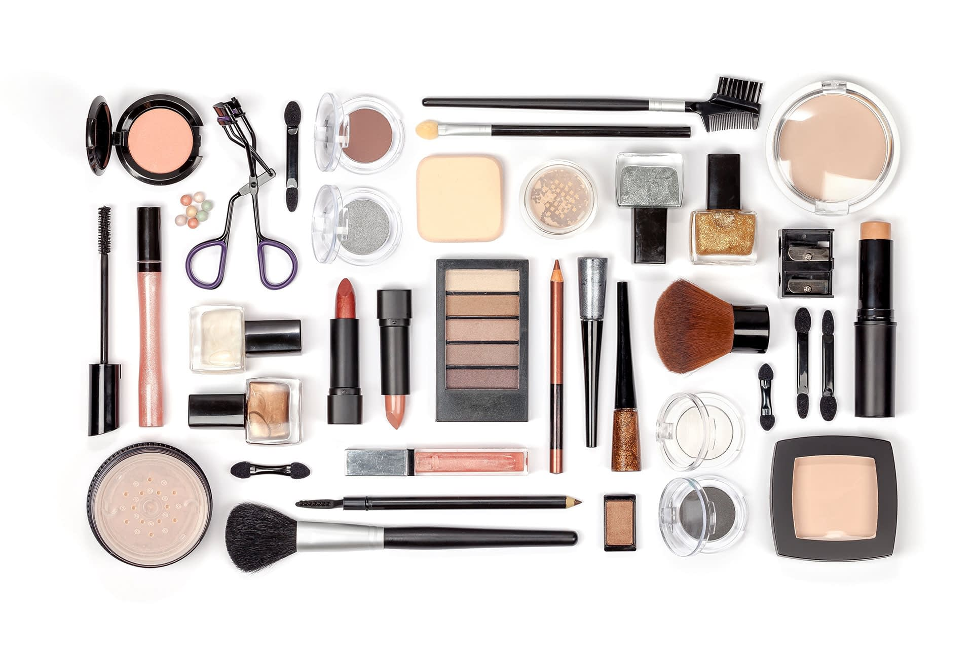 spread of different healthy makeup brands and tools