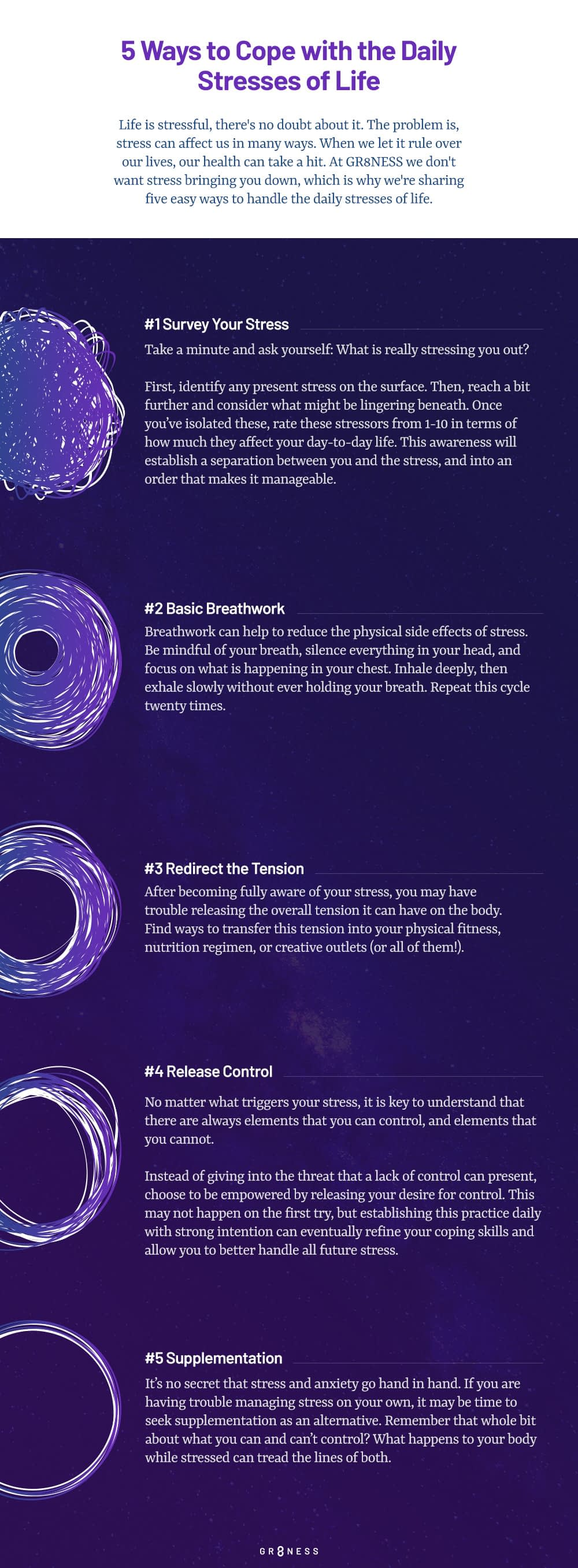 An infographic listing 5 ways to cope with daily stress