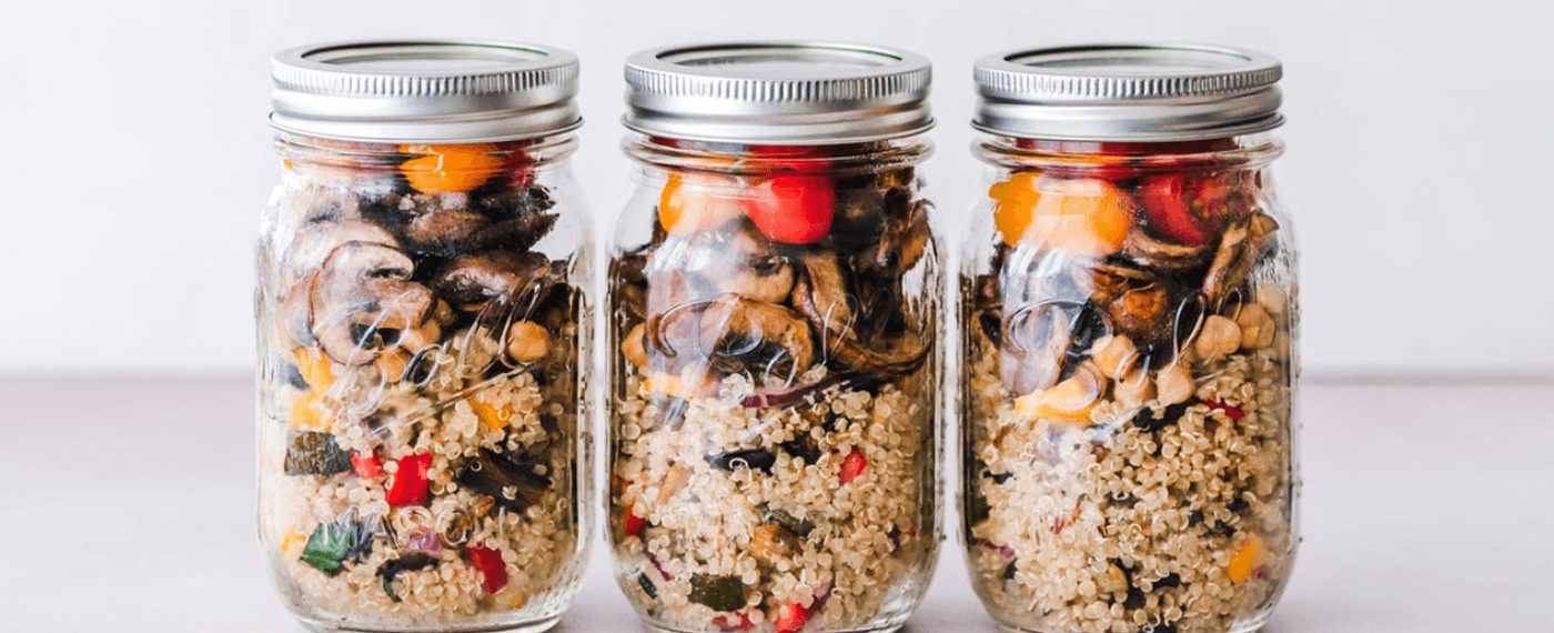 Jars of healthy food proportions for healthy meal prep recipes