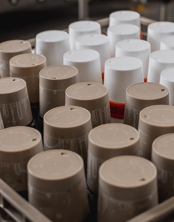 A collection of reusable coffee cups to help save the environment