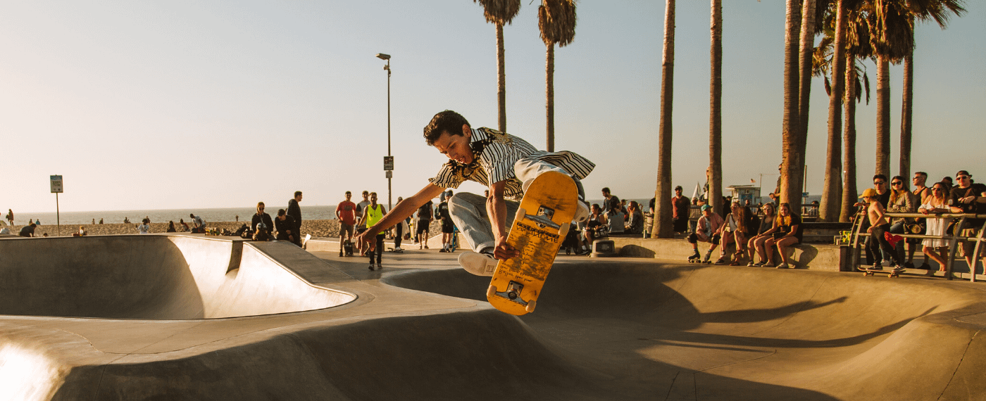A skateboarder uses mind and body to perform impressive tricks