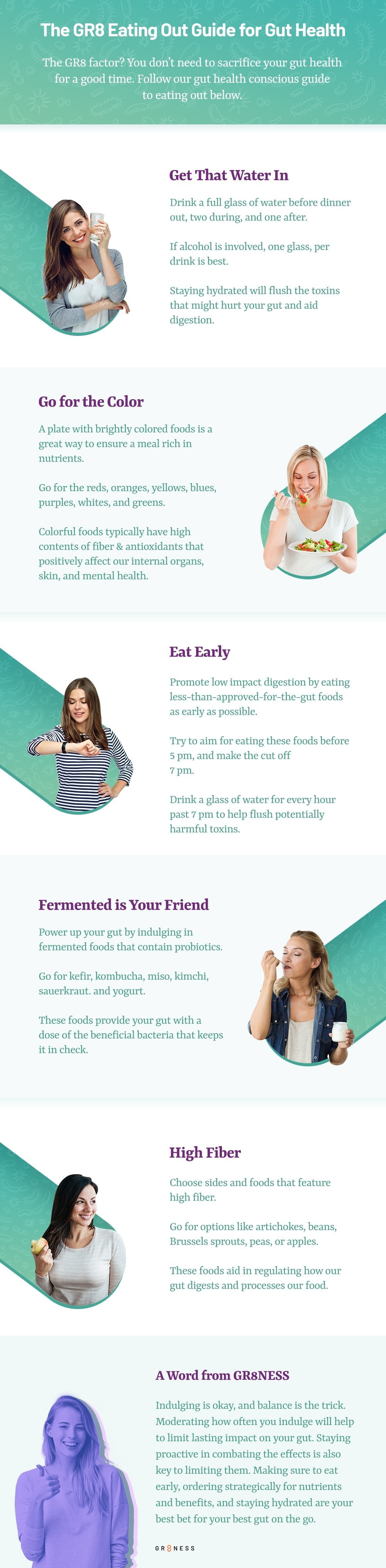 List of tips for eating out and gut health