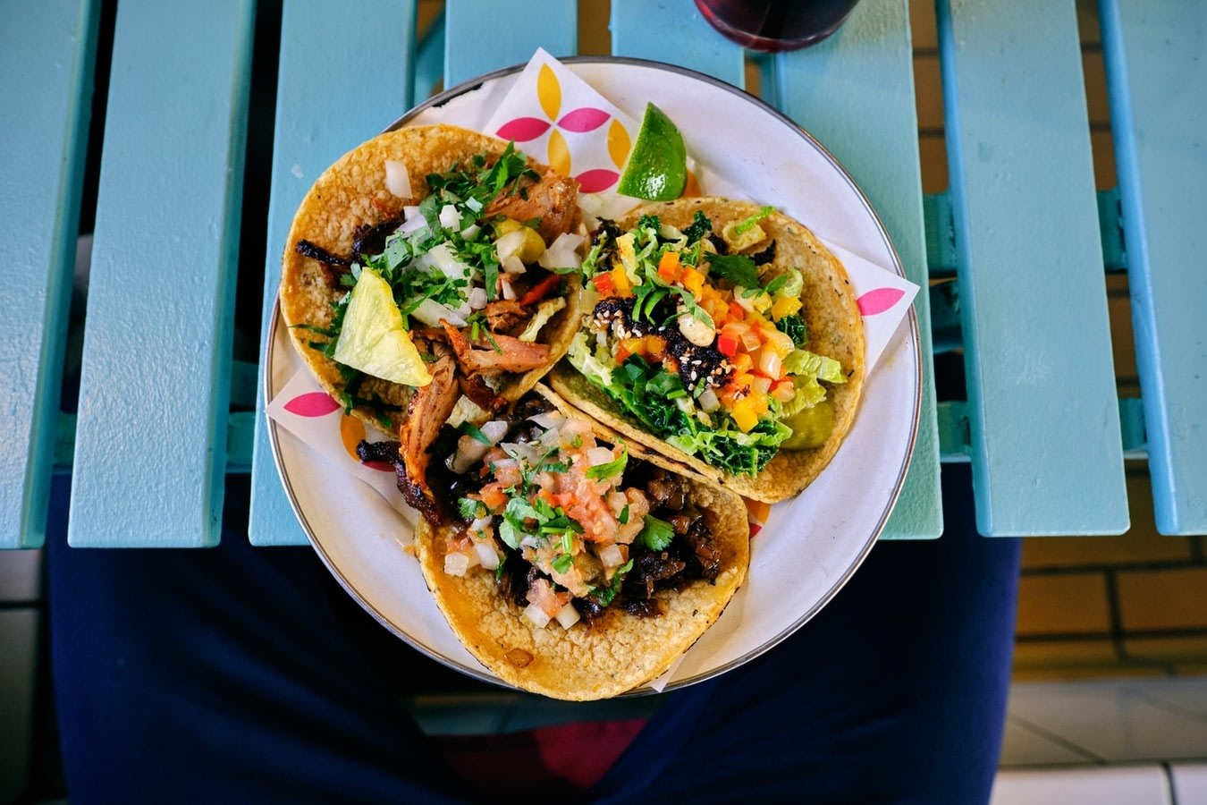 Mexican soft shelled tacos on a plate