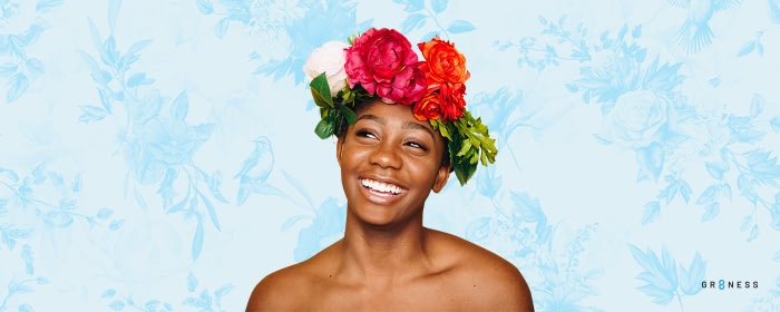 Girl wearing flowers on head for self care ideas