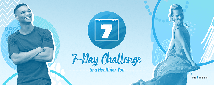 banner featuring a man and woman for the 7 day self care challenge