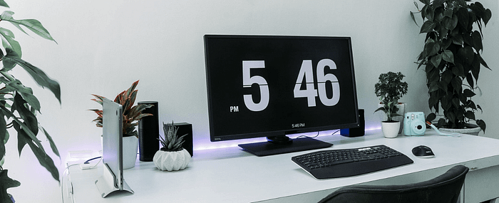 A computer monitor displaying the time