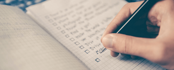 A to do list planner being checked off