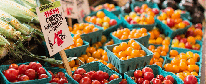 Close up of cherry tomato crates