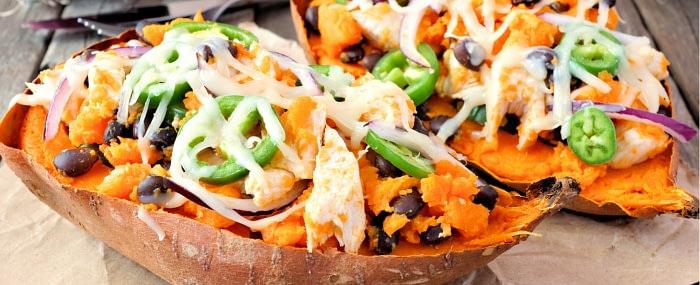Healthy vegan black bean stuffed sweet potatoes