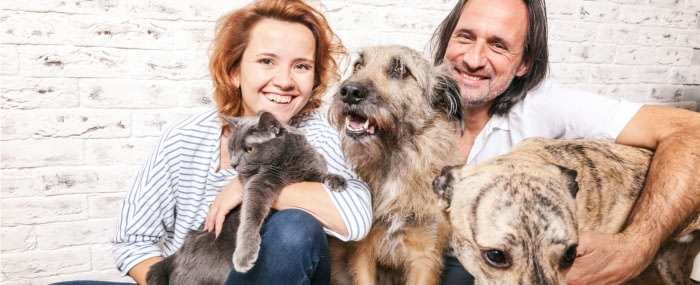man and woman holding dogs and a cat