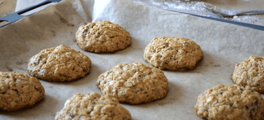 A baking pan with fresh baked cookies made with CBD
