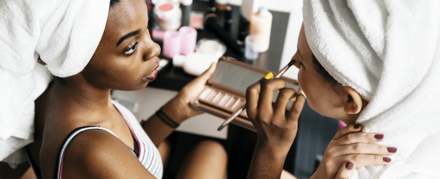 Non-comedogenic foundation being applied to a woman's face