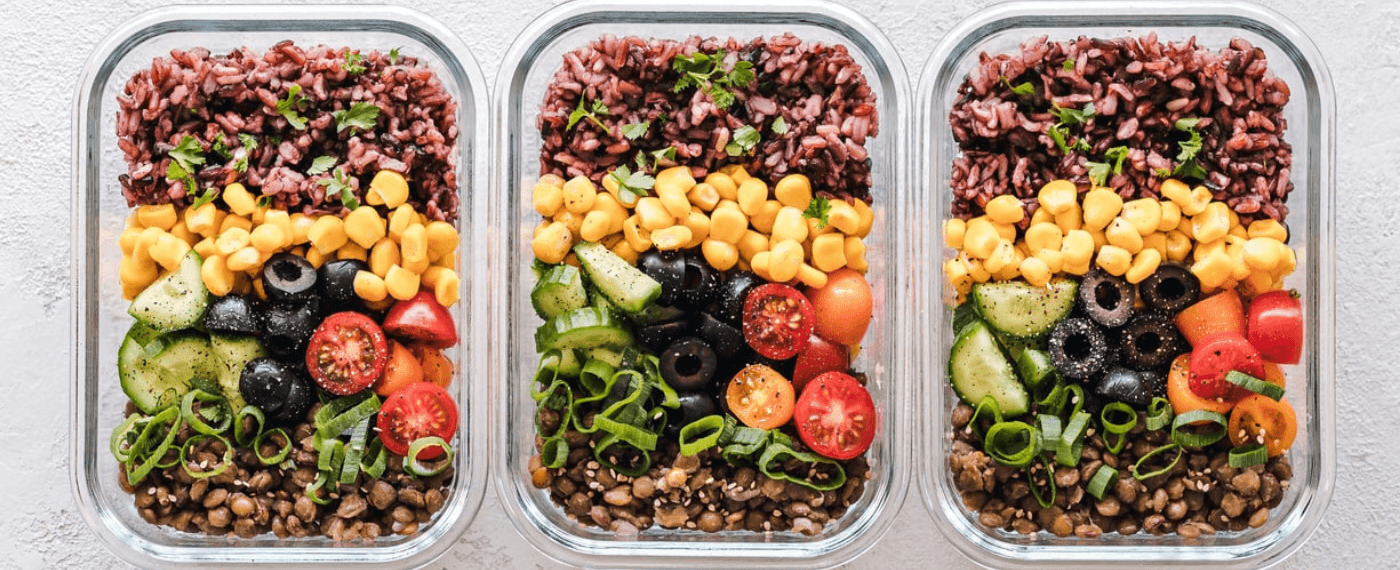 Containers of prepped meals for the week