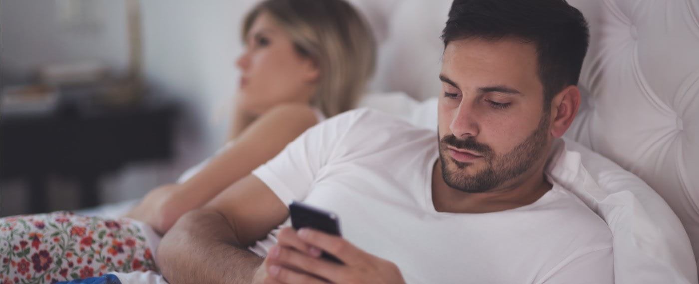 woman upset with lack of sex drive form man on phone