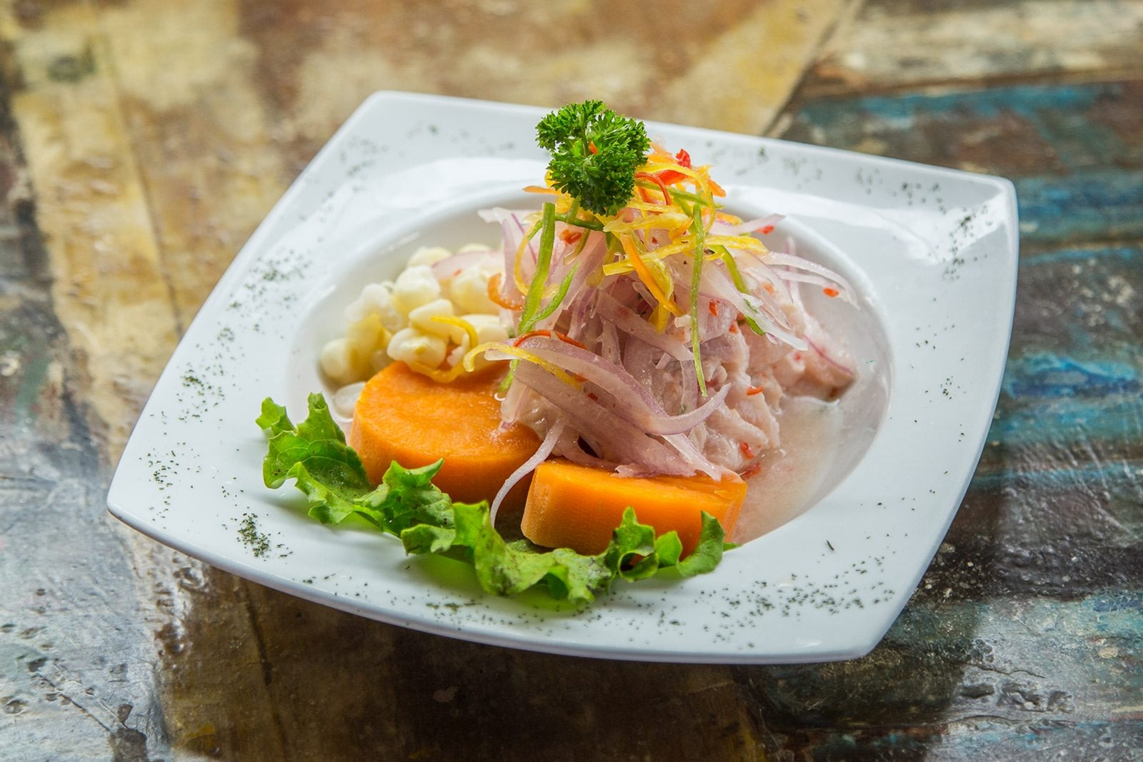 Ceviche prepared with sweet potatoes and vegetables