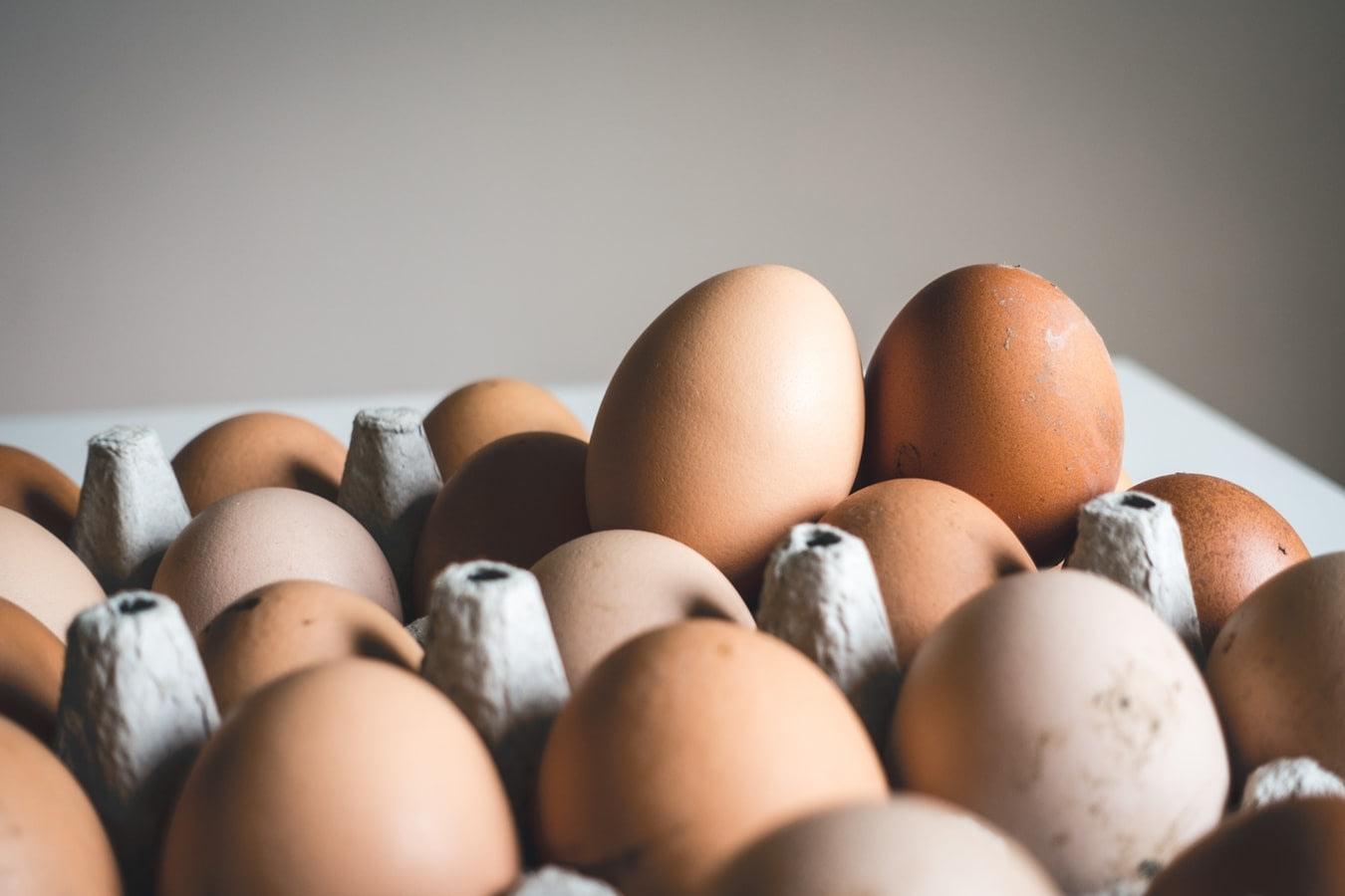 Brown whole eggs inside a cardboard egg holder
