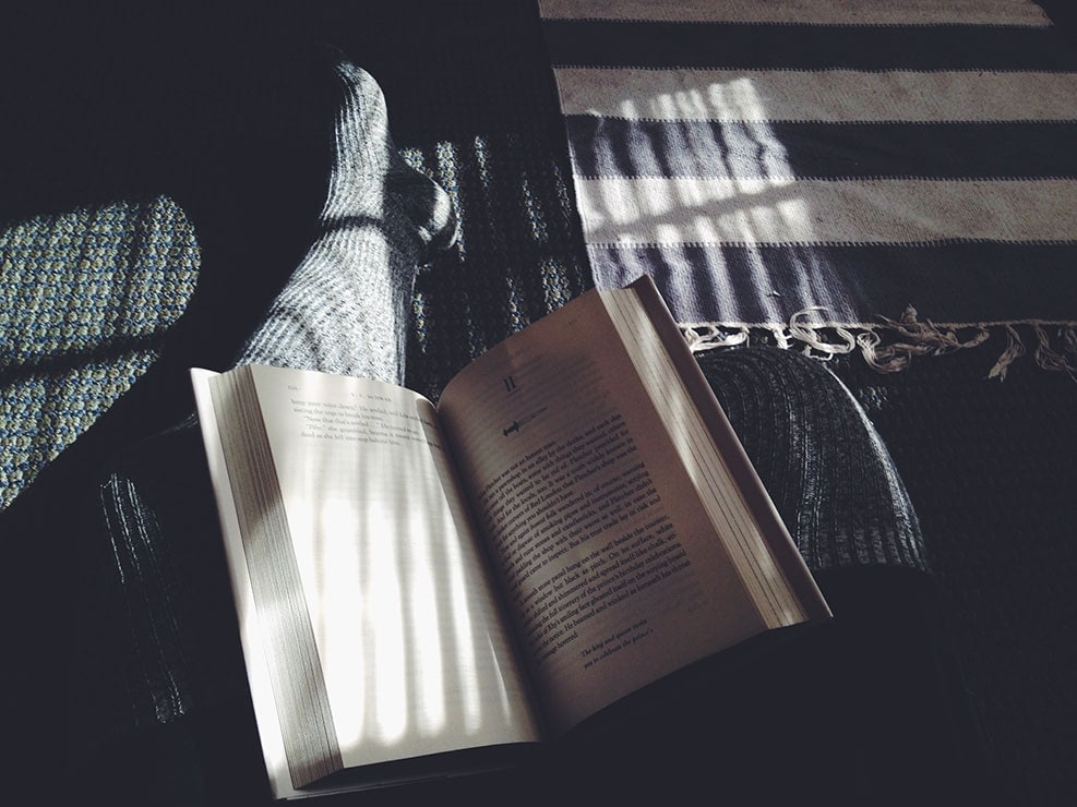 An open book resting on a person's lap