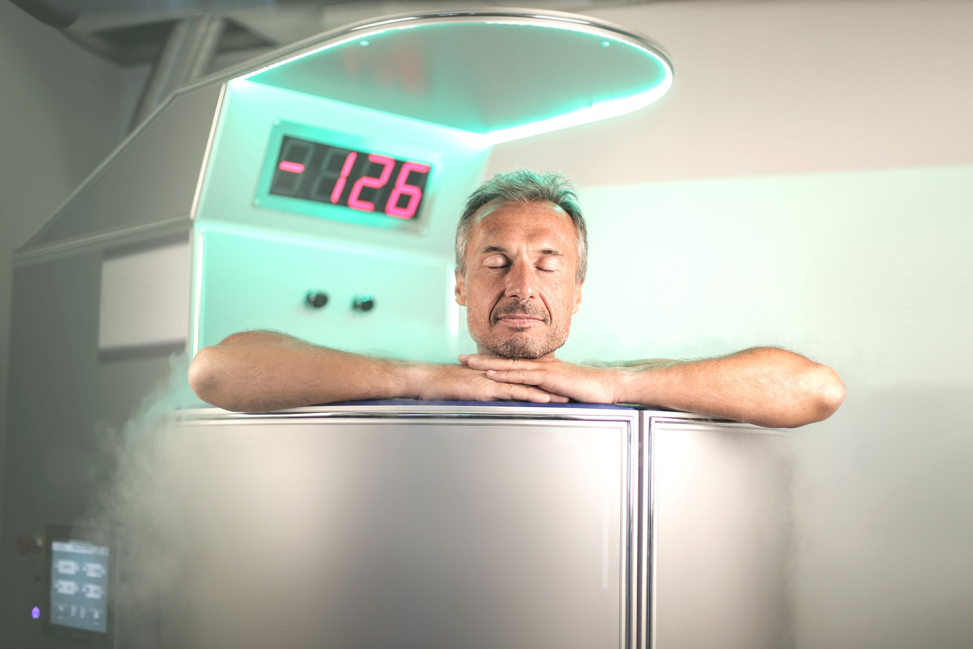 A relaxed man enjoying cryotherapy for pain relief
