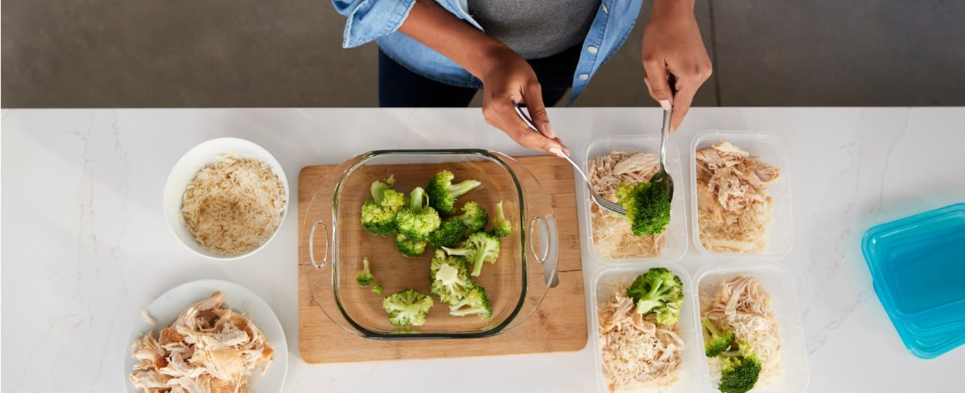 woman prepping fast and healthy meals