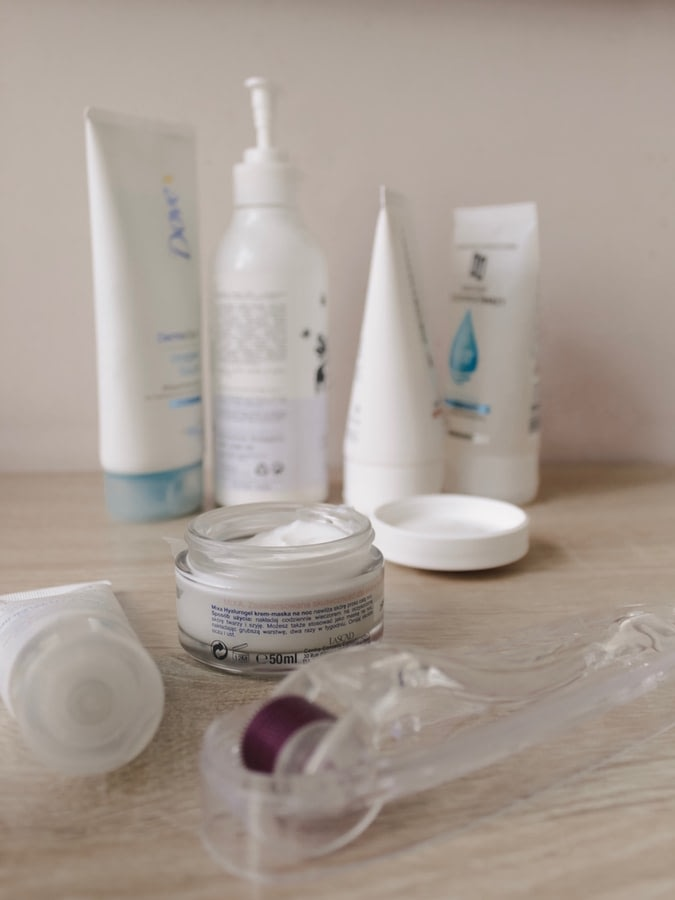 different skincare products used in a daily routine