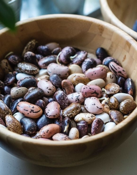 A wooden bowl of antioxidant rich beans of varying colors