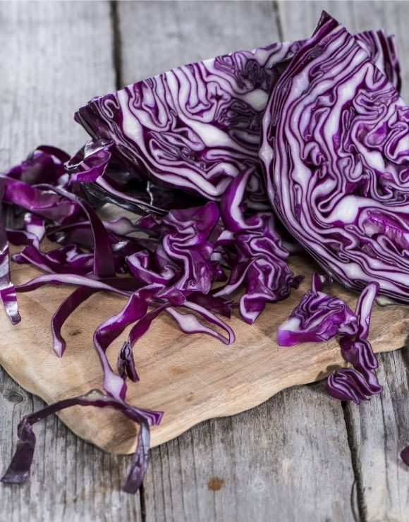 Cabbage on a cutting board, rich in antioxidants