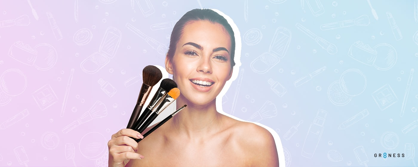 GRaphically designed image of woman holding up a variety of makeup brushes to her cheek playfully