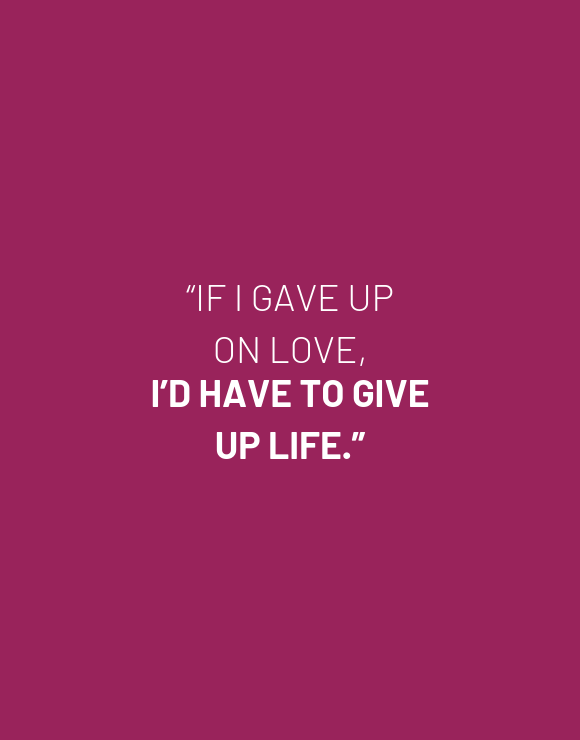 inspirational quote about never giving up on love