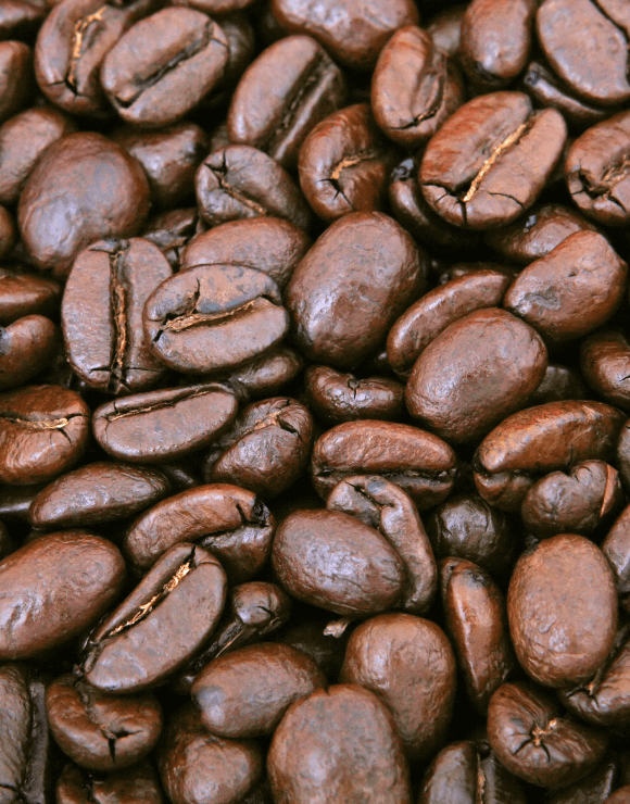 Raw coffee beans used for makeup