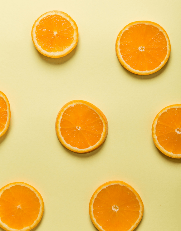 Slices of orange used as a powerful antioxidant