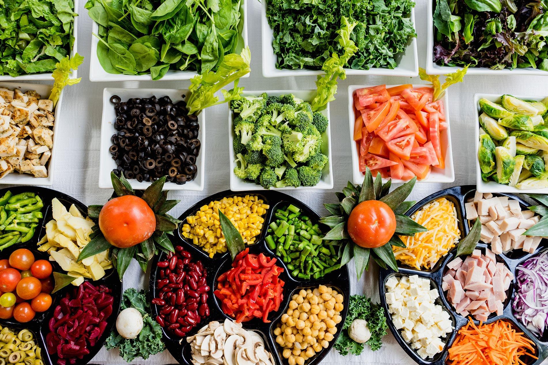 A large array of vegetables for salds