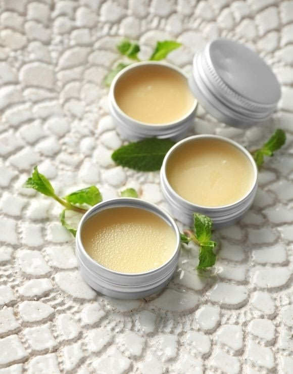 DIY mint lip balm containers