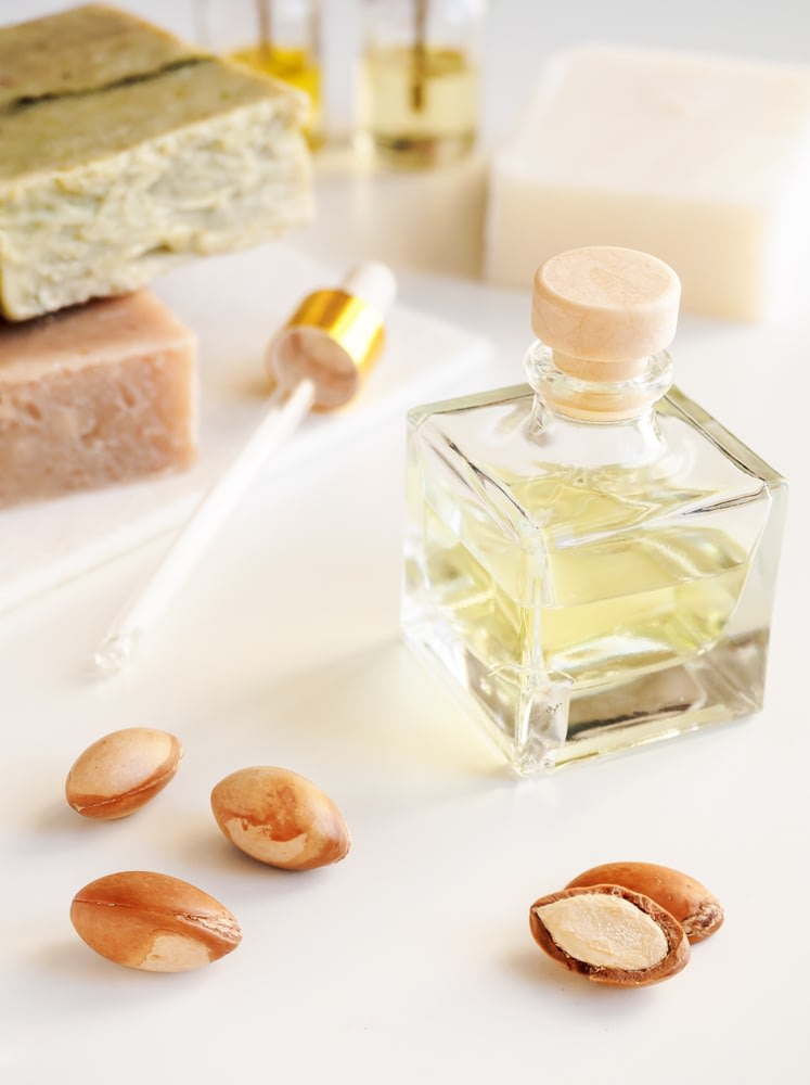 A small glass tincture of Botanical Oils used in makeup products