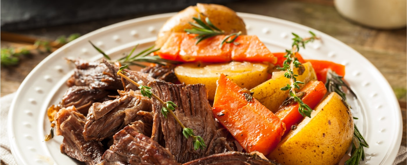 Pot roast with potatoes, perfectly prepared in a slow cooker