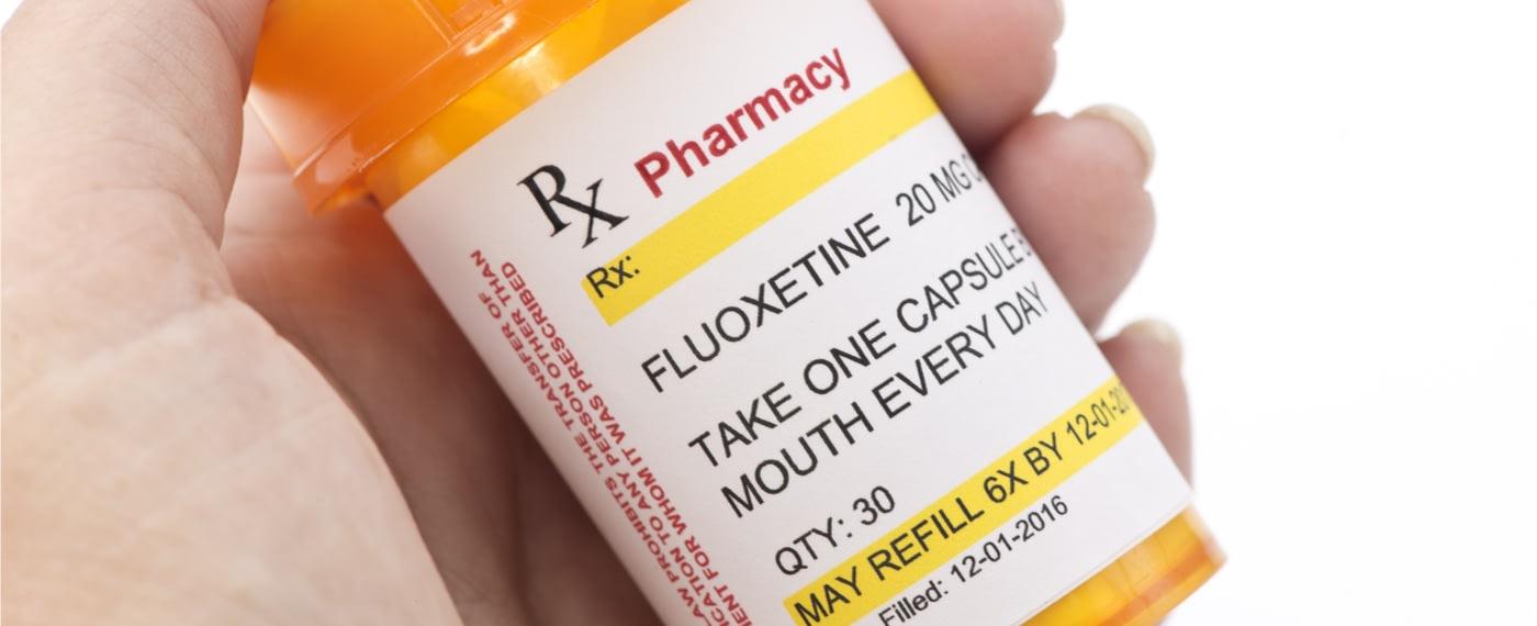 A bottle of antidepressants