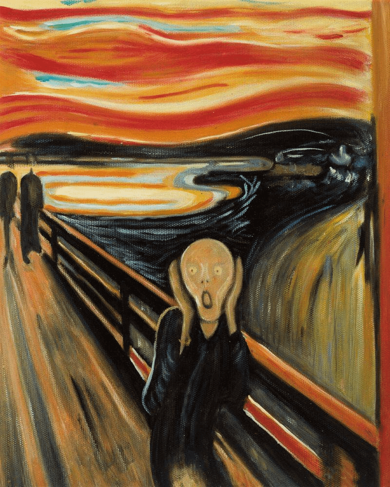A painting of a person suffering in an uncaring environment
