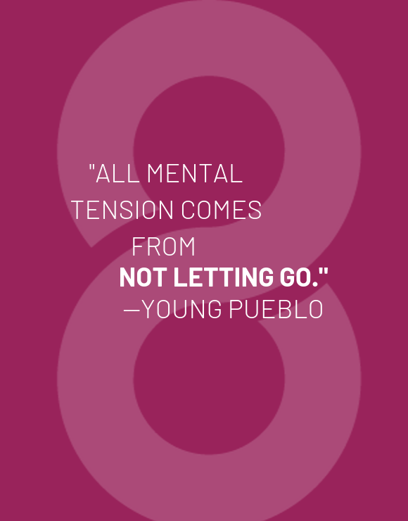 Young Pueblo quote on purple background