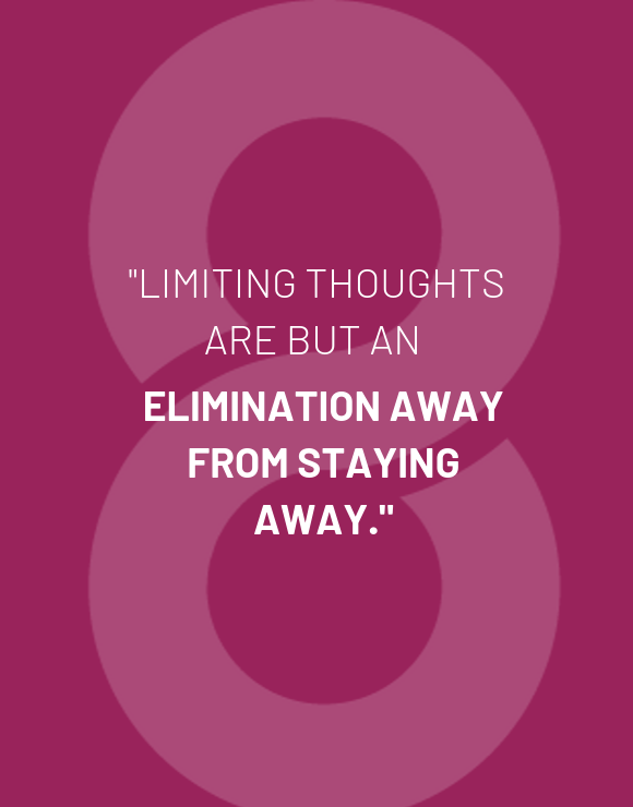 Quote about limiting thoughts purple background