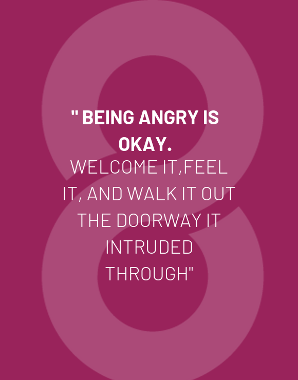 being angry is okay quote on purple background