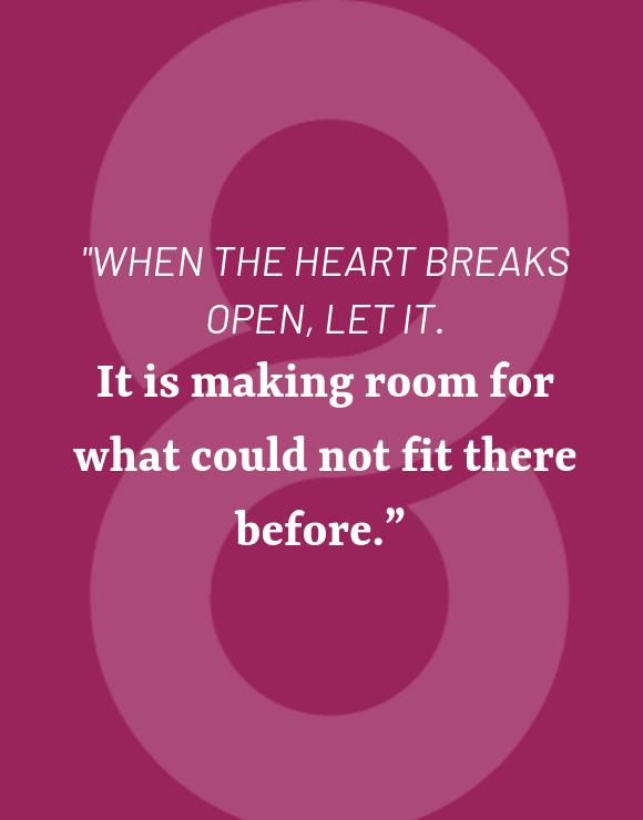 Heartbreak quote on purple background
