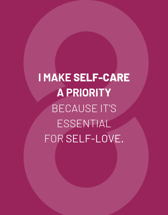 Quote about making self care a priority on purple background