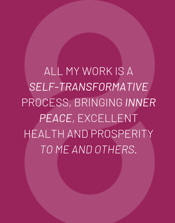 Quote about self-transformation for inner peace on purple background