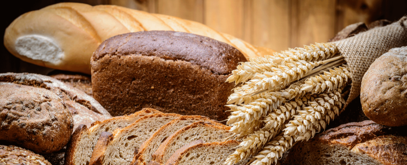 Different types of bread and grains