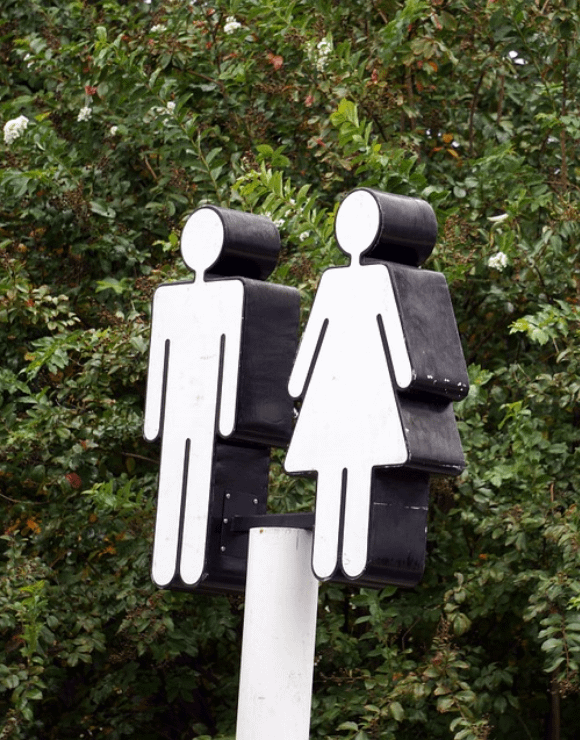 Outdoor bathroom sign for male and female bathrooms