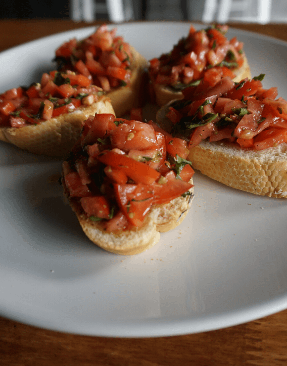 A plate of CBD infused bruschetta